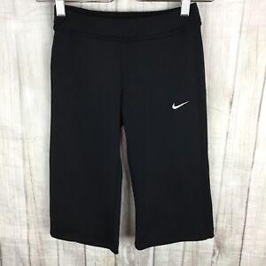 Nike Women's Size S Dri-Fit Sports Black With White Stripe Workout Cropped Pants