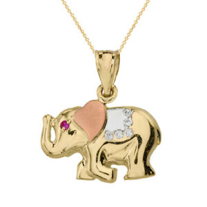 Solid Three Tone 14k Gold Red CZ Eye Elephant Clear CZ Stones Pendant Necklace