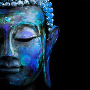 BUDDHA ART PRINT ON STRETCHED CANVAS PRINTS FRAMED PAINTING COLOURFUL BLUE