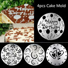 4pcs Round craft Decorating Flower Heart Cake Fondant Flour Cutter Mold Mould NP