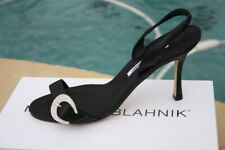 Manolo Blahnik Black leather crescent rhinestone jewel buckle 39.5 NIB