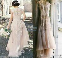 New Vintage Blush Tulle Wedding Dresses Cap Sleeve Appliques Lace Bridal Gowns