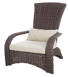 Patio Sense Deluxe Coconino Wicker Chair | All Weather Wicker | Beige Cushion |