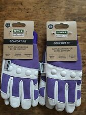 2 x Town & Country Ladies Small Gardening Gloves Comfort Fit TGL104S purple