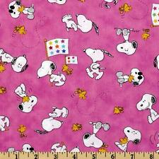 Peanut Project Linus Snoopy & Woodstock Pink 100% cotton fabric by the yard