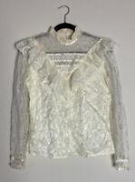 VTG Gunne Sax Lace High Neck Ruffle Blouse Pearl Buttons Shirt Size L Prairie