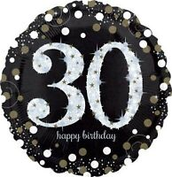 """HOLOGRAPHIC SPARKLING AGE 30 BIRTHDAY 18""""(45CM) FOIL BALLOON BIRTHDAY PARTY S..."""