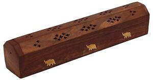 "Incense Burner Elephant Wooden Incense Stick,Cone Holder Box. 12"" Free Shipping"