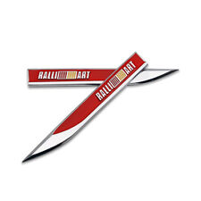 Pair Red Ralliart Emblem Rally Blade Badge Side Metal Sticker Racing Sport Decal