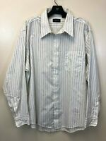 Christian Dior Monsieur Men's 17.5 34/35 White Black Stripe Button Down Shirt