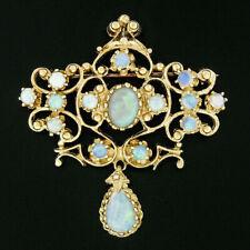 Vintage 14k Yellow Gold 2.02ctw Cabochon Dangle Teardrop Opal Pin Brooch Pendant