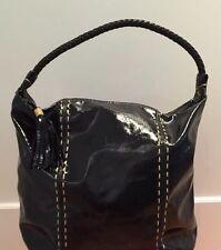 Carlos Falchi Fatto a Mano Black Patent Leather Shoulder Bag Designer Purse