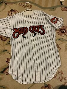 Carolina Mud Cats Wilson Minor League Baseball Jersey White Pinstripe L Vintage