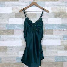 Victorias Secret Vintage Satin Lingerie Slip Dress Green Lace Beaded Womens P XS