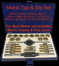 METRIC Coarse Fine Tap and Die Set M3 M4 M5 M6 M8 M10 M12 Boxed Kit Taps Dies