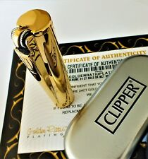 24ct Gold Plated Metal Petrol Clipper Lighter 24k Flint Gas Gift Box Refillable