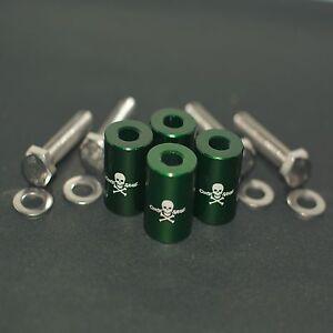 "GREEN 1"" BILLET HOOD VENT SPACER RISER KITS FOR TURBO/ENGINE/MOTOR SWAP 8MM"