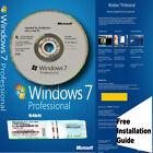Windows 7 Pro Professional 64Bit SP1 - 1 COA License Key DVD Installation Guide