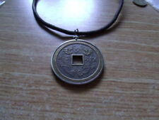 """2"""" Chinese Twin Dragon Token Coin Pendant. Handmade 20"""" Brown leather Necklace."""