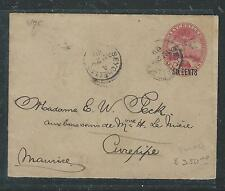 SEYCHELLES (P0406B) 1900 TURTLE PSE 6C SURCH TO MAURITIUS, BACK STAMPED