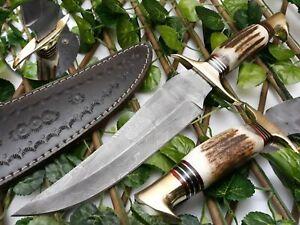 CUSTOM HANDMADE DAMASCUS STEEL HUNTING DAGGER HIKING BUSHCRAFT KNIFE STAG HANDLE