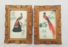Vintage Bird Drawing In Wood Frame W Real Feather Accents