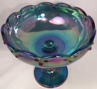 Indiana Carnival Glass Fruit Bowl Blue Iridescent Vintage