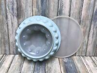 "Tupperware 9"" Vintage Light Blue Jello Mold Ice Ring 3 Piece 1202-1"
