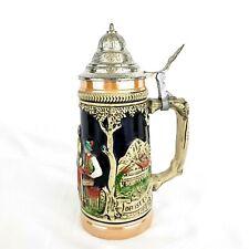 Vintage Beer Stein Ceramic Pewter Lidded Mug Western Germany