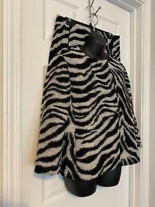 Ann Taylor Black/Gray 2 Piece Wool Blend Jacket & Skirt Suit Sz 8