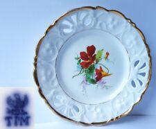 Porzellan Teller, Blumen, Handmalerei, C. Tielsch & Co Schlesien, um 1848 AL477