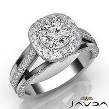 Round Cut Diamond Milgrain Engagement Halo Ring GIA F VVS2 18k White Gold 1.61Ct
