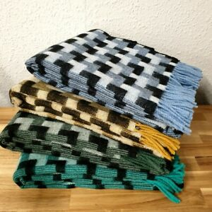 Luxury Lambswool Throw Parquet Geometric Design Various Colours Ideal Gift