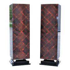 Monumental Pair of French Art Deco Exotic Macassar Ebony Pedestals M-O-P Accents