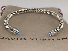 David Yurman Sterling Silver Blue Topaz And Diamonds 5mm Cable Cuff Bracelet