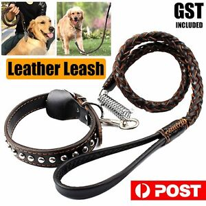 Pet Dog Collar Leash Set Strong Leather Dog Collar Lead 110cm Solid Braided Wove