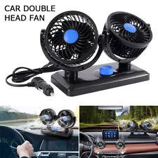 12 Volt Electric Auto Car Oscillating Van Fan Dashboard Cooler Air Con Dual Head
