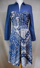 Holding Horses Anthropologie Flared Bandanna Shirt Dress 10 Blue Western Shift