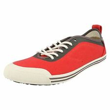 Mens Caterpillar Alias Lace up Flat PUMPS Canvas Shoes Everyday CASUALTRAINERS Poppy Red Aus 6