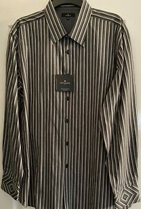 'Jeff Banks' Gents Grey Black White Striped L/S Shirt, Size XXL, New With Tags