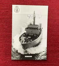 HMS ORWELL - River Class Minesweeper - Photo Card with Navy Crest Insignia