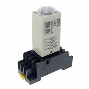 12VDC H3Y-4 Power On Time Delay Relay Solid-State 2~60Min,4PDT,14 Pins & Socket