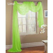 2 LIME GREEN SCARF SHEER VOILE WINDOW TREATMENT CURTAIN DRAPES VALANCE