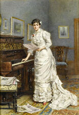 Charming Oil painting portraits nice young noblelady holding Music score piano
