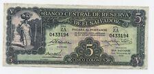 El Salvador 5 Colones 6-11-1952 Pick 82 Very Fine + Circculated Banknote