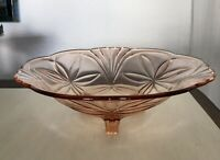 Rosalin Rosa Glas Art Déco Obstschale groß Schale Pressglas Glasschale dreifüßig