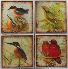 New listing Set of 4 - Handmade Natural Ceramic Tile Stone Drink Coasters - Wild Bird 1 - G