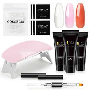 COSCELIA Gel Nail Polish with UV Lamp Poly Color Gel Nail Gift Set LED Soak Off