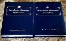 2 Volume Complete Set Statehood Quarter Book Collection With Stamps! BU RARE!