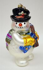 Fitz & Floyd Hand Blown Glass Painted Snowman w Gifts Large Christmas Ornament